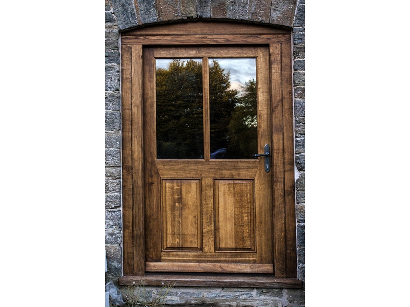 Large oak gunstock half glazed insulated exterior door for Insulated entry door